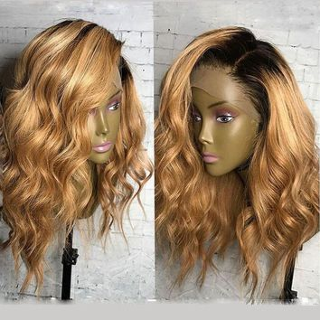 Short Blonde Bob Wavy Lace Wig Dark Roots (Side Part)