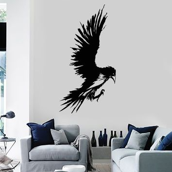 Vinyl Wall Decal Raven Bird Cool Teen Room Child Art Decor Stickers Mural Unique Gift (ig5160)
