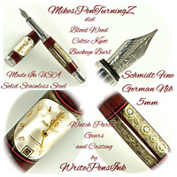 Custom Wooden Pen Segmented Watch Part Pen Buckeye Burl Bloodwood Segments  Knot White and Black Rings Made in USA Stainless Steel 783FPSSG
