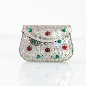 Silver with Stones Metal Clutch Bag