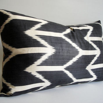 Sukan / Hand Woven Silk ikat Pillow Cover Gray Black - lumbar Ikat Pillow cover- decorative pillow covers - throw pillows - accent pillow