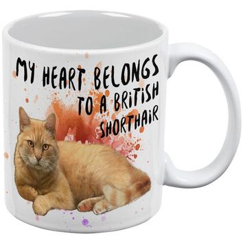 LMFCY8 My Heart Belongs British Shorthair Cat White All Over Coffee Mug