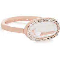Monica Vinader - Vega rose gold-plated, diamond and rock crystal ring