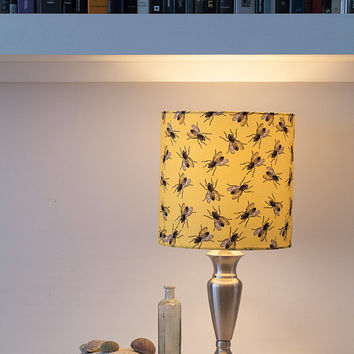 Housefly Insect Lampshade - Space 1a  - fabric lampshade - handmade - yellow - gift for new home - gift for couple