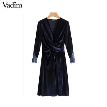 Vadim velvet v neck wrap dress lace patchwork pleated split vintage long sleeve female casual knee length chic vestidos QZ3287