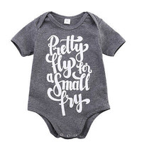 2016 Hot Baby Boy Girls Casual Romper Gray Color Letter Printed Jumpsuit Clothes Outfits 0-24M