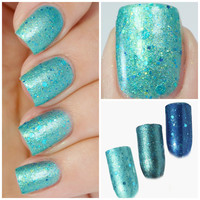 Mermaid Madness - Mermaid Nail Polish - Holographic Gold Glitter and Blue Glitter - Turquoise Polish, Teal Shimmer - Turquoise Nail Polish