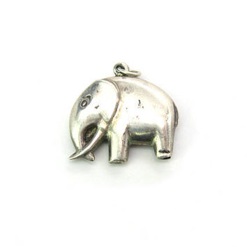 Sterling Silver Elephant Charm Good Luck Indian Pachyderm Animal Pendant Minimalist Puffy Styling Vintage 1970s Mod Fashion Jewelry
