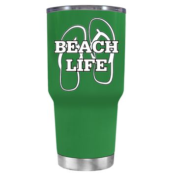 The Beach Life Sandals on Kelly Green 30 oz Tumbler Cup