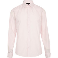 River Island MensLight pink double cuff long sleeve shirt