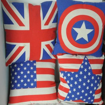 Flag Cotton Linen Throw Pillow Case Cushion Cover Home Sofa Decorative