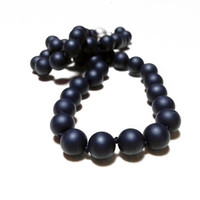 Black Onyx Bead Necklace // Hand Beaded Individually Knotted Matte Black Necklace - Wedding Jewelry - Gift for Her under 50