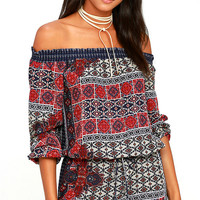 Lucy Love West Indies Navy Blue Print Off-the-Shoulder Dress