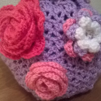 crochet tea cozy cosy roses flowers, lilac, pink, white