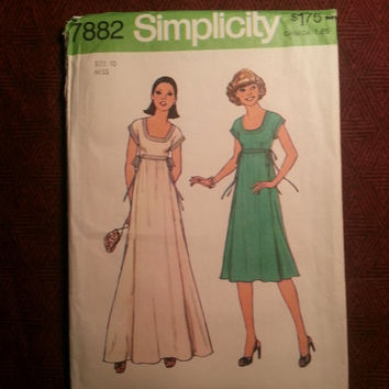 Uncut 1970's Simplicity Sewing Pattern, 7882! Size 10 Women's/Misses/Short Sleeve Flared Dress/Empire Long Dress or Short/Above Waist