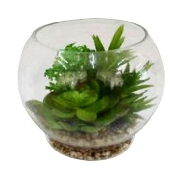 "4.75"" Artificial Succulent Arrangement Glass Terrarium with Pebbles"