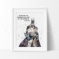 Batman Begins Quote Watercolor Art Print