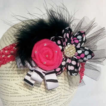 Fancy Over the Top Flower Headband ~ Pink Black Headband ~ Fits Baby to Adult - Boa Headband - Party Flapper Headband - Photo Prop Girl -