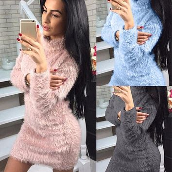 High Turtleneck Fairy Solid Color Women Oversized Long Sweater Dress