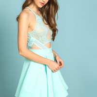 MINT MIRRORED LACE FLARE DRESS