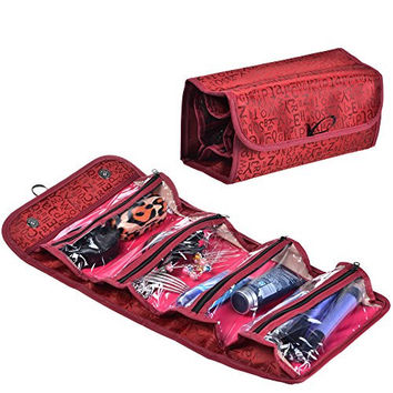 KLOUD City ® Red Color 4 Compartment Roll Up Hanging Cosmetics Toiletry Travel Bag Organizer Holder/JEWELRY BAG/ Bathroom Organizer/Charger Cord Storage (style 2)