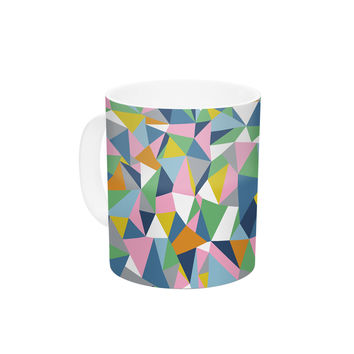 "Project M ""Abstraction Pink"" Rainbow Abstract Ceramic Coffee Mug"