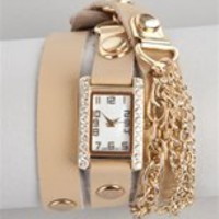 Tan Chain Fringe Wrap Watch