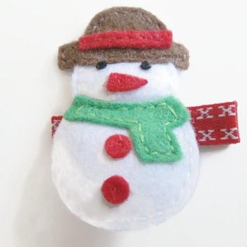 girls hair clips - Felt snowman, red hair clip, christmas hair clip, winter hair clip, stocking filler,  UK seller