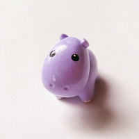 Purple Hippo Polymer Clay Charm