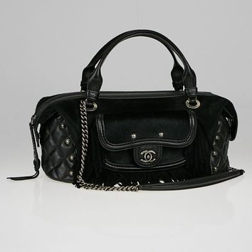 Chanel Black Pony Hair and Leather Fringe Paris-Dallas Bowling Bag