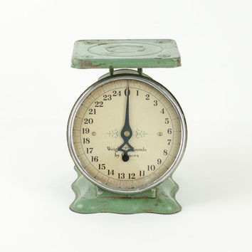 Antique Teal Green Kitchen Scale