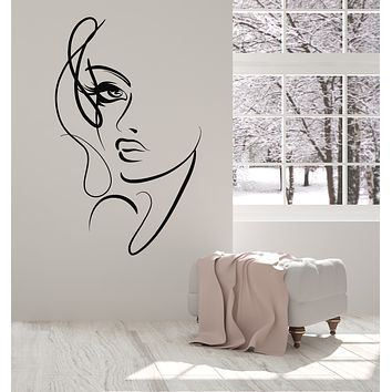 Vinyl Wall Decal Abstract Woman Face Beautiful Girl Beauty Salon Stickers (3720ig)