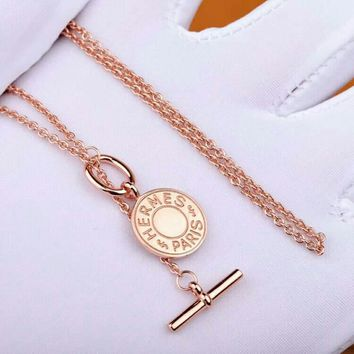 HCXX Hermes Letter Button Necklace Timeless Classic Rose Gold