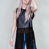Drifter -  Vegan leather tunic shirt with lace up back and mesh tails