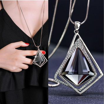 RAVIMOUR Fashion Choker Women Necklace Jewelry Geometric Crystal Statement Pendant Necklace Silver Color Long Chain Colar 2018
