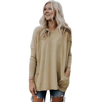 Khaki Oversize Fit Pocket Sweater Tunic
