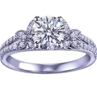 Engagement Ring - Round Diamond Butterfly Engagement ring Pave Split Band in 14K White Gold - ES965BRWG