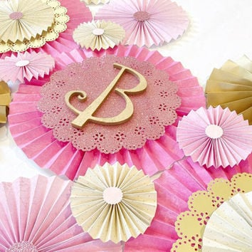 Paper Rosettes - Pink rosettes - Gold Pinwheel Backdrop - Paper fans - Paper Pinwheels - Nursery Decoration - Birthday Decoration - Wedding