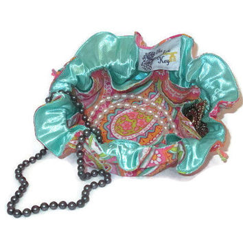 Drawstring Travel Jewelry Pouch / Satchel - Bright Paisley with Mint Blue / Green Satin