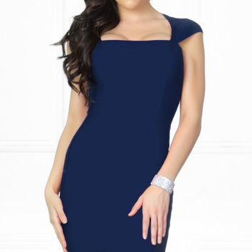 Indie XO Kiss Me Navy Blue Square Neck Bandage Sleeveless High Back Zip Close Fitted Bodycon Sheath Pencil Mini Dress