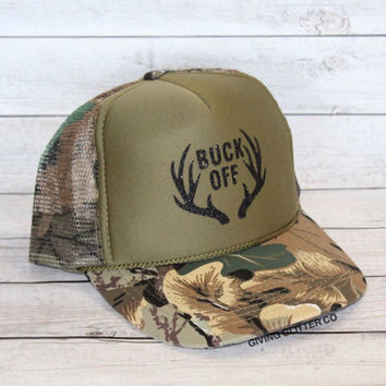 Buck Off // Trucker Hat - Camo Hat - Country Hat