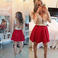 Dark Red Short Cocktail Dresses 2017 Long Sleeves Pearls Dress robe de cocktail Appliques Beading Bow Mini Prom Dresses M691