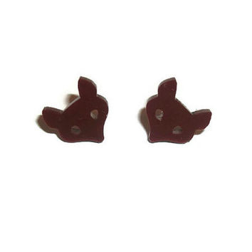 Brown Fox Earrings, Cute Woodland Animal,  Fox Kawaii Laser Cut Studs