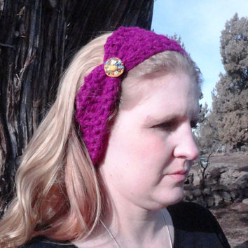 Crochet Headband, Fuschia Bow Headband with Button, Ear Warmer Bulky Warm Angora Yarn, Stylish, Cute, Crochet, Free Shipping USA only