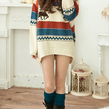 Deer Pattern Loose Long Sweater