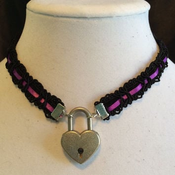 ROYAL PURPLE Satin Ribbon and Black Velvet submissive Day Collar with Working Heart Padlock