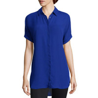 Worthington® Short-Sleeve Button-Front Blouse