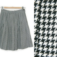 Vintage Skirt~Size Small~Waist 26~Black and White Houndstooth Preppy School High Waist Pleated Skirt~By Studio Michelle Stuart - Edit Listing - Etsy