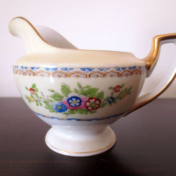 Small Floral Creamer/Pitcher.  Japanese China, Shirley Pattern.  Tea Party