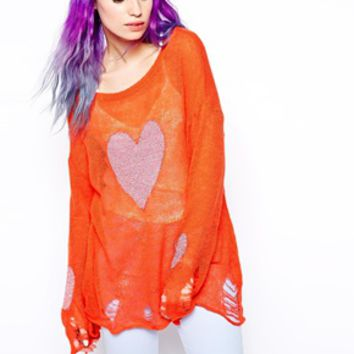 Wildfox White Label Happy Heart Lennon Sweater - Valley rougue